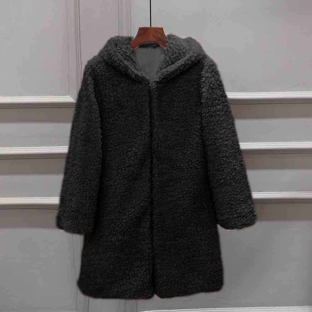 Jinjiums Women Jacket,Clearance Winter Fleece Hooded Jacket Long Sleeve Thick Hooded Open Stitch Coat Jacket Cardigan