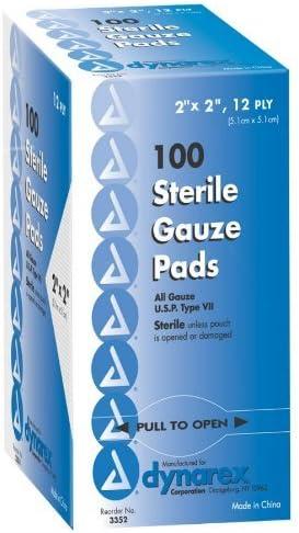 """B000BI1ZC8 Dynarex Sterile Gauze Pads, 2"""" x 2"""", 12 ply, 3 Boxes of 100 51gmNPEZgUL"""