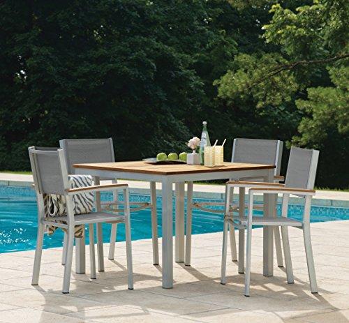 (Oxford Garden Travira 5 Piece Aluminum with Natural Tekwood Sling Dining Table Set, 39