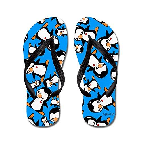 Pinguini Cafepress - Infradito, Sandali Infradito Divertenti, Sandali Da Spiaggia Neri