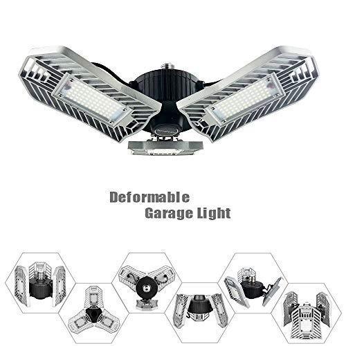 80W Motion Activated LED Garage Lights, Adjustable Trilights Garage Ceiling Lighting, High Bay Deformable LED Corn Light Bulbs with Motion Sensor 8000LM 6000K, HID HPS Metal Halide Lamps 300W Equiv. by GRG (Image #1)