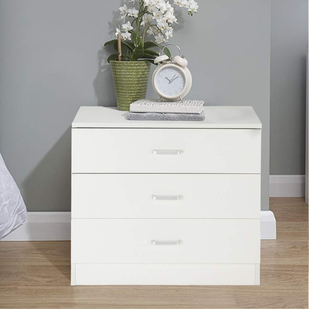 Zipperl 3 Drawers Dresser Wood Chest Cabinet for Closet to Storing Clothes,Cosmetic and All Kind Accessories (White-3 Drawer)