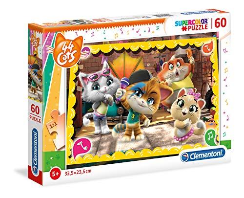Clementoni- Puzzle 60 Piezas 44 Gatos, Multicolor (26052.2)