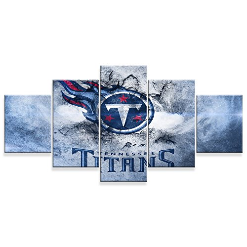 (PEACOCK JEWELS [Large] Premium Quality Canvas Printed Wall Art Poster 5 Pieces / 5 Pannel Wall Decor Tennessee Titans Painting, Home Decor Pictures - Stretched)