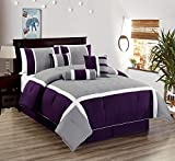 All American Collection New 7 Piece Embroidered Over-Sized Comforter Set (Queen, Purple/Grey)
