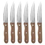 CUISINART Advantage 6 Piece Triple Rivet Walnut Steak Knife Set, C55W-S6STK, Brown