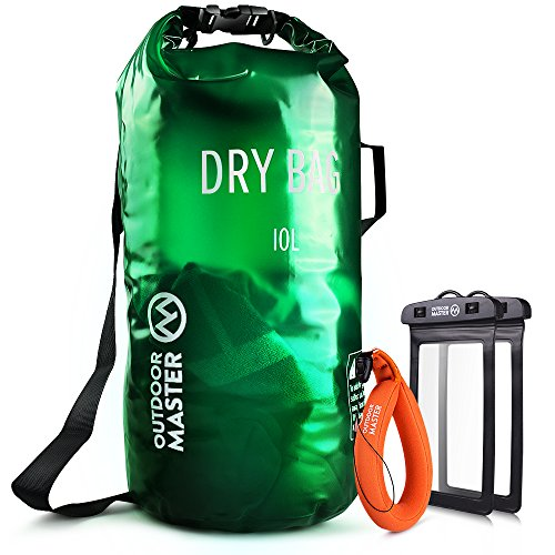 OutdoorMaster Dry Bag - Waterproof, Lightweight Dry Sack for the Beach, Boating, Fishing, Kayaking, Swimming, Rafting - Comes with 2 Free Waterproof Cell Phone Case with Floating Strap (Green, 10L)