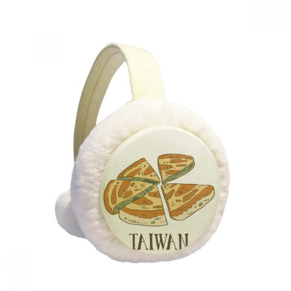 Food Pizza Taiwan Travel Winter Earmuffs Ear Warmers Faux Fur Foldable Plush Outdoor Gift
