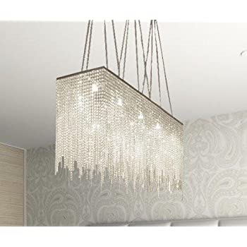 10 Light Modern Contemporary Dining Room Chandelier Rectangular Chandeliers Lighting Dressed With Crystal 28 X 36