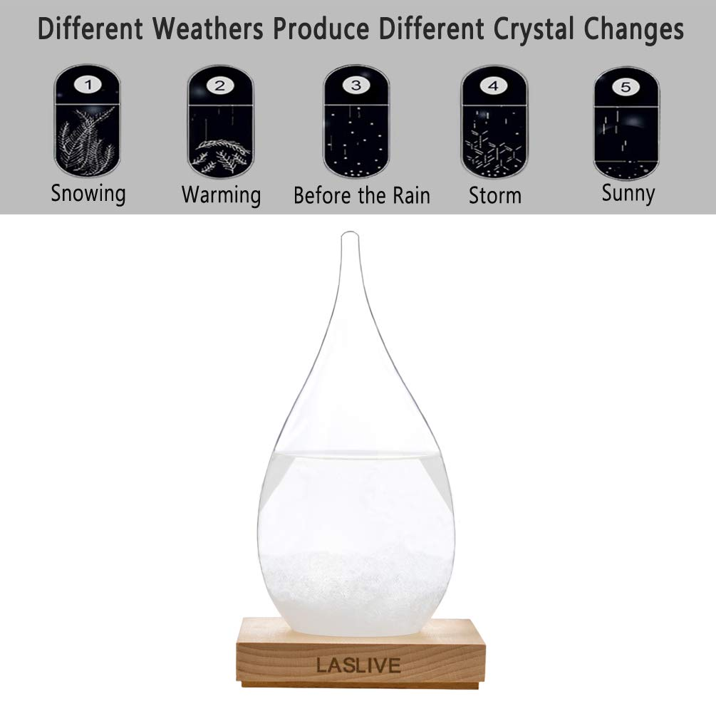Unique Weather Forecaster Big LASLIVE Best for Gift Stylish Deskstop Waterdrop Shape Transparent Storm Glass with Quality Wooden Base The Most Dazzling Decorations on Various Occasion.