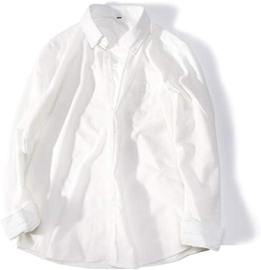 QJXSAN Camisa de Hombre Camisa de Pana de Manga Larga Las Solapas de los Estudiantes de Moda Delgada Usan una Vida Cotidiana Salvaje y Simple (Color : White, Size : XXL): Amazon.es: