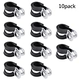 "SODIAL 10 PCS 3/8"" Steel Fuel Line Clamps Rubber Cushion Clamp 10MM"