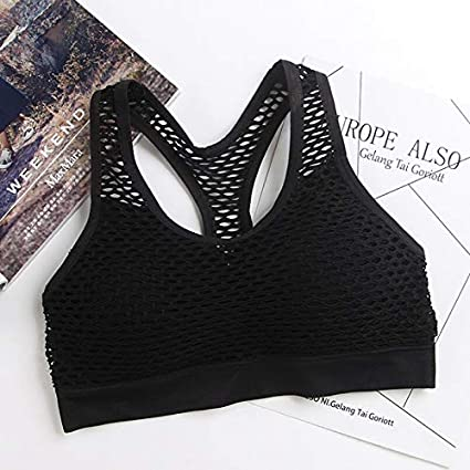 b6d2a29fcf Image Unavailable. Image not available for. Color  Bingo Point Breathable  Mesh Sport Bra Top Women Hollow Out Cross Shockproof Push Up Yoga Bras