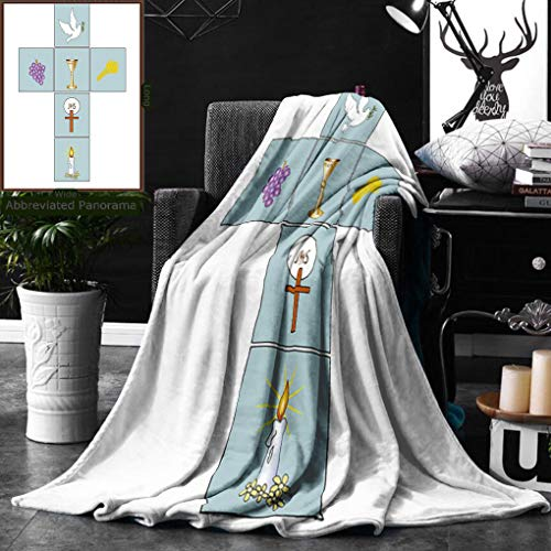 Unique Custom Double Sides Print Flannel Blankets Baptism Decorations By Baptismal Cross Bible Faith Believing Greeting Welcoming Baptiz Super Soft Blanketry for Bed Couch, Twin Size 60 x 70 Inches by Ralahome