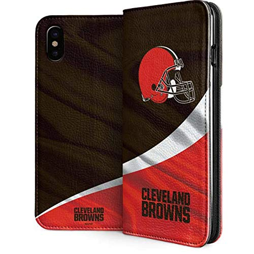 Skinit Cleveland Browns iPhone Xs Max Folio Case - Officially Licensed NFL Phone Case - Vegan Faux-Leather Wallet iPhone Xs Max Cover