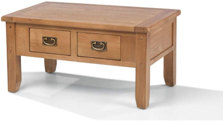 Monaco Rustic Oak Small Coffee Table With Drawers Rustic Natural