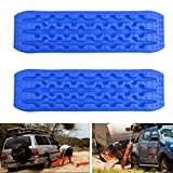 Areyourshop 2 PCS Recovery Traction Sand Tracks Snow Mud Track Tire Ladder 4WD Off Road Blue