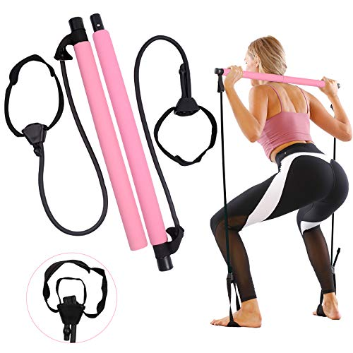 🥇 GLKEBY Kit de Barra de Pilates con Banda de Resistencia Ajustable Barra de Pilates portátil para Estiramiento