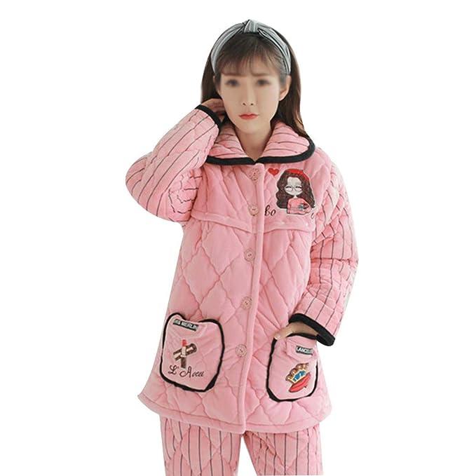 AXIANQI Otoño E Invierno, Engrosamiento De Tres Capas Más Pijamas De Maternidad De Terciopelo, Franela, Ropa para Amamantar A (Color : Pink B, ...