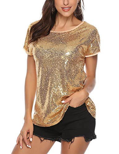 barnkas Sequin Tops for Women, Sparkle Shirt Shimmer Glitter Loose Bat Sleeve Party Tunic Tops - Shirt Shimmer Top