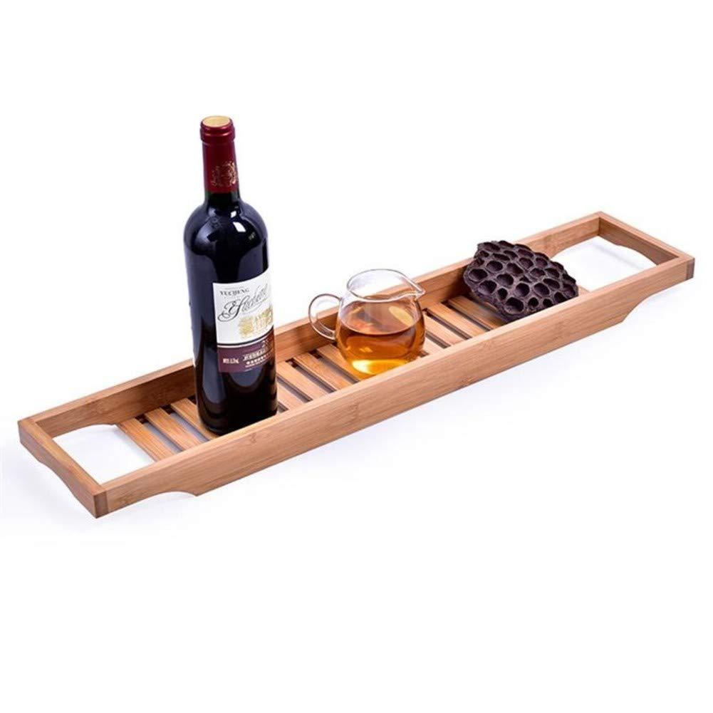 Bamboo Wooden Bathtub Holder, Bathtub Caddy Bath Tray with Rails Ideal Shower Organizer Bathtub Rack for Bathroom-Wood Color 70x14.6x4.5cm(28x6x2inch)