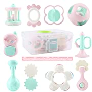 EFOSHM 10PCS Baby Rattles Teether Set, Grasping Grab Toy, Spin Shaking Bell, Sensory Teether Rattle, Boiled Disinfection BPA Set for Infant Newborn Baby Toddler