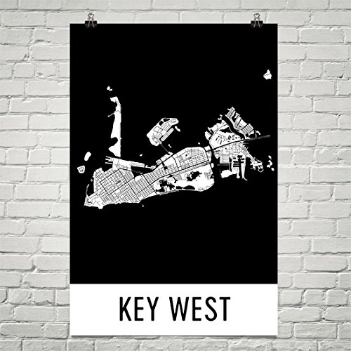 Key West Poster, Key West Art Print, Key West Wall Art, Key West Map, Key West City Map, Key West Florida City Map Art, Key West Gift, Key West Decor, White and Black