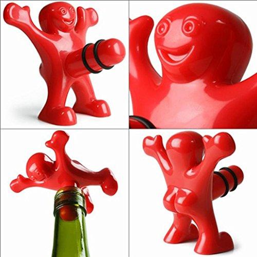 NXDA Enduring Kitchen Bar Red Happy Man Wine Beer Soda Bottle Opener Stopper (Plastic)