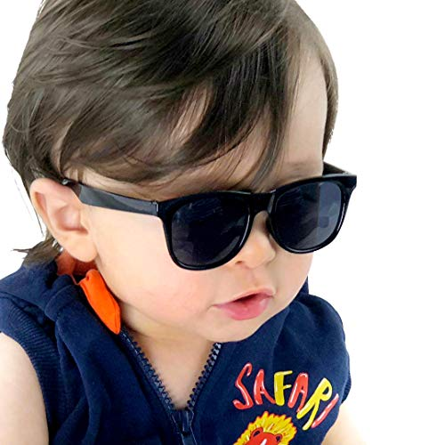 Kd3006 infant baby Toddlers 0~24 Months Old 80s retro Sunglasses (Black)