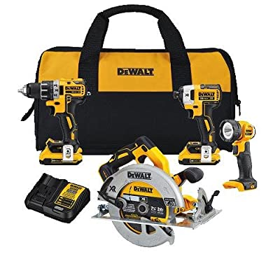 DEWALT DCK483D2 20V Max XR 4-Tool Compact Cordless Circular Saw Combo Kit