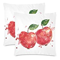 InterestPrint Watercolor Red Apple Zippered Pillowcase Cushion Pillow Case Covers Decorative 18x18 Twin Sides, Set of 2