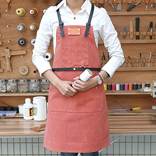 Lqchl Canvas Apron Back X Leather Strap Barber Barista Florist
