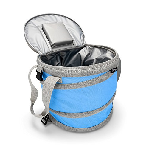 Camco Pop-Up Cooler - Lightweight, Waterproof and Insulated Pops Open for Use and Collapses Flat for Storage | Perfect for the Beach, Pool, Camping, Tailgating and Travel - Blue (51995) -