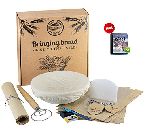 Bread Basket Replacement Liner - Artisan Bread Making Kit: Banneton Round Natural Cane Bread Proofing Basket 9 Inch, Cloth Liner, Bread Scoring Lame, 10-pk Blades, Bowl Scraper, Danish Dough Whisk, Bread eBook and Eco-Friendly Box