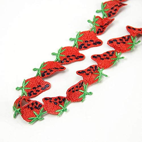 Dalab 3.4CM Fruit Lace Pineapple Strawberry Lace Trim Ribbon 15Y,DIY Handmade Materials,Packing Gift Wrap,15Y48617 - (Color: Strawberry)