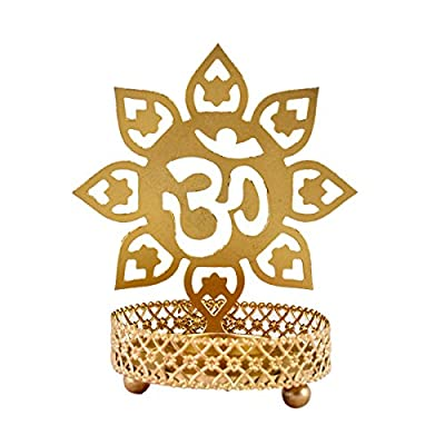 Hashcart Traditional Tea Light Candle Holder/Metal Candle Light Holder Set/Designer Votive Candle Holder Stand/Table Decorative Candle Holders, OM Shadow Tea Light Holder for Home Living Room & Office