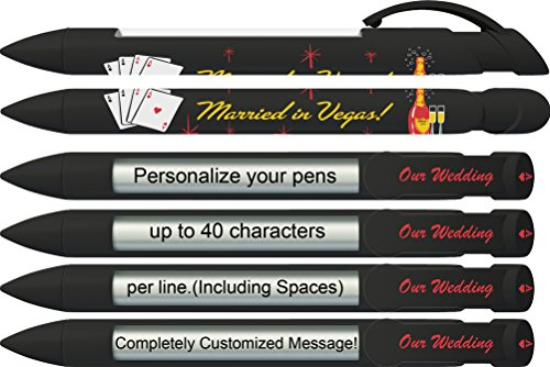 Greeting Pen Personalized Vegas Wedding Invitation/Favor Rotating Message Pen - 6 Pack (P-WP-12-6) ()
