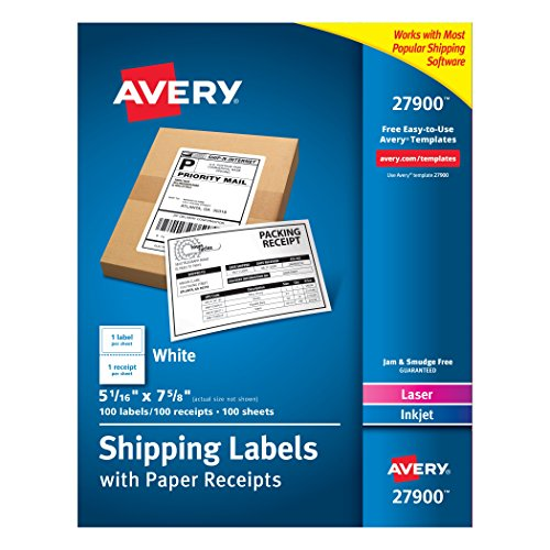 "Avery White Shipping Labels with Paper Receipts, 5-1/16""x7-5/8"", 100 Pack (27900)"
