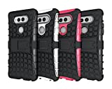 LG V20 Case, HLCT Rugged Shock Proof Dual-Layer PC and Inner TPU Case With Built-In Stand Kickstand for LG V20 (2016) (Black)