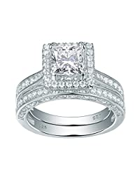 Newshe Jewellery 2.8 Carat Princess White CZ 925 Solid Sterling Silver Wedding Band Engagement Ring Set