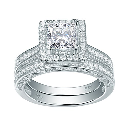 (Newshe Jewellery 2.8 Carat Princess White Cz 925 Solid Sterling Silver Wedding Band Engagement Ring Set Size 7)