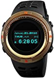 Sports Digital Men Watches Black Military Electronic Wirst Watch OLED Display Multifunctional Gold Watchcase