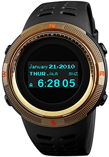 Tonnier Sports Digital Men Watches Black Military Electronic Wirst Watch OLED Display Multifunctional Gold Watchcase price tips cheap
