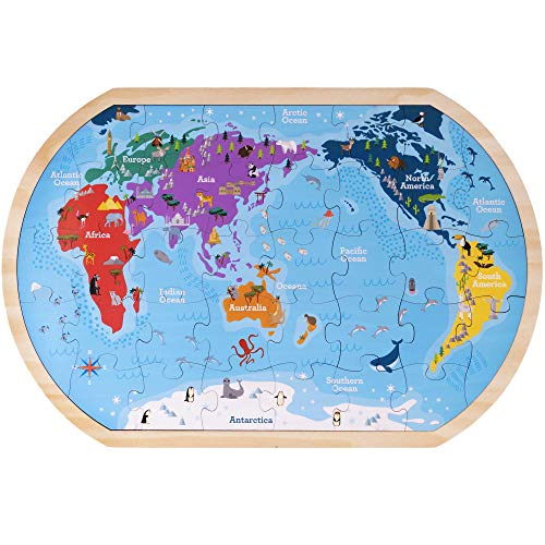Professor Poplar's Whole Wide World Map Jigsaw Puzzle Board | Children's 17.75