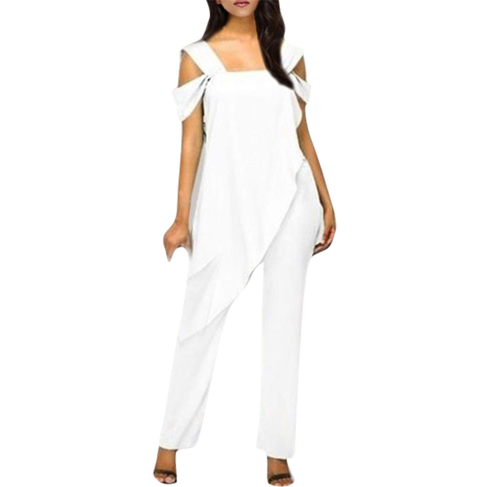 Thenxin Women's Plus Size Jumpsuit Cold Shoulder Sleeveless Layered Romper Slim Smock Pants Playsuit(White,L)