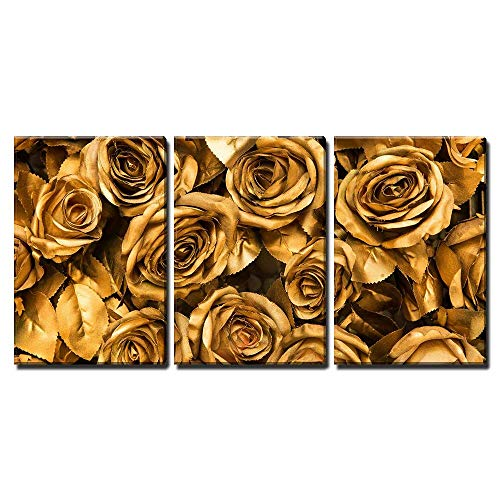 wall26 - 3 Piece Canvas Wall Art - Golden Fabric Roses Background - Modern Home Decor Stretched and Framed Ready to Hang - 16