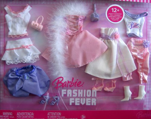 - Barbie Fashion Fever - 12+ Piece Fashion Clothes Set (2006) : fur scarf, white and pink dresses, and more