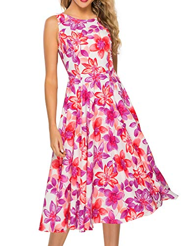 Simple Flavor Women's Vintage Dress Sleeveless O-Neck Party Cocktail Dress (0682BS, Large)