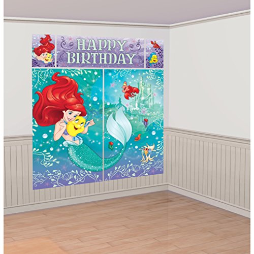 Little Mermaid Party Decorations (Amscan Enchanting Disney Ariel Dream Big Birthday Party Scene Setters Wall Decorating Kit (5 Piece), Multicolor, 59