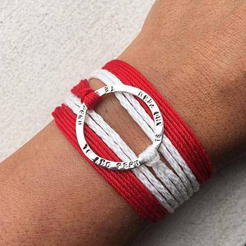 TE AMO PERU Stamped Infinity Open Circle Wrap Bracelet, Reversible Sterling Silver 925 plated, Adjustable Red and White Multi-strand Pima Cotton Thread